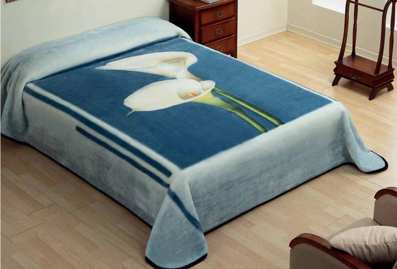 MANTA ESTAMPADA 5134 azul c4 Cama de 135/150 cms