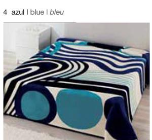MANTA ESTAMPADA 5326 azul c4 Cama de 135/150 cms