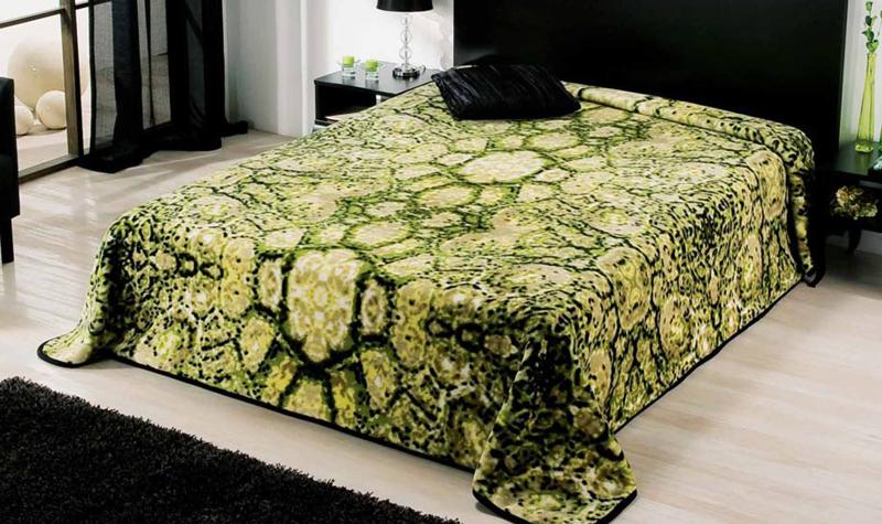 MANTA PIEL DE SERPIENTE 5331 verde c3 Cama de 135/150 cms
