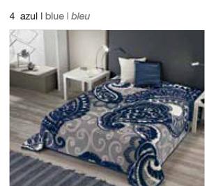 MANTA ESTAMPADA 5337 azul c4 Cama de 135/150 cms