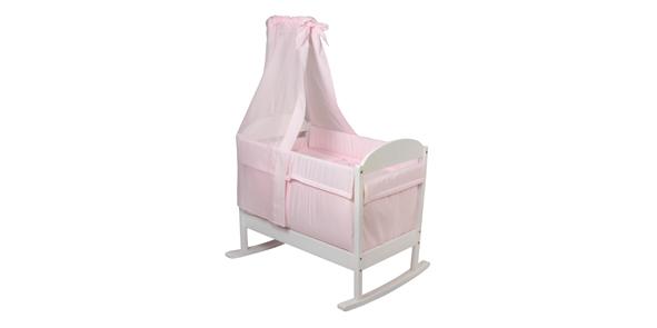 CAMITA MADERA BALANCIN CON DOSEL 61 Color rosa unica (46x78cm)