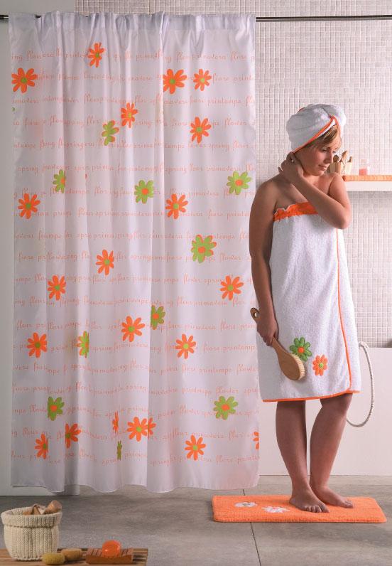 CORTINA DE BAÑO MARGA 19 - Naranja 140 x 200 cm