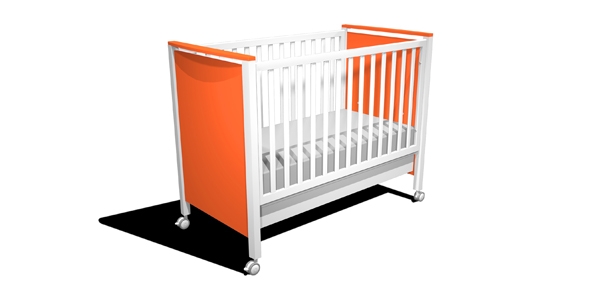 CUNA CALIFORNIA Color naranja 105 x 67 x 129 cm