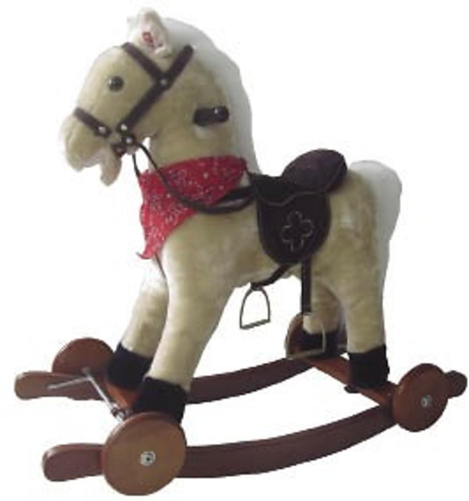 caballo balancin ruedas 74 cm con sonido beige juguetes