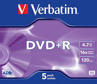 PACK 5 DVD+R  MATT SILVER  16X -  4.70 GB JEWEL.