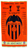 TOALLA CAMPEON DE LIGA Y COPA DE LA UEFA  VALENCIA C.F. - COLECCIONISTA